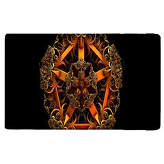 3d Fractal Jewel Gold Images Apple Ipad 2 Flip Case by Simbadda