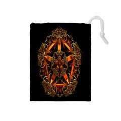 3d Fractal Jewel Gold Images Drawstring Pouches (medium)