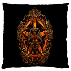 3d Fractal Jewel Gold Images Large Flano Cushion Case (two Sides) by Simbadda