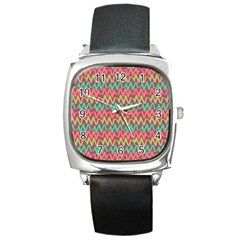 Abstract Seamless Abstract Background Pattern Square Metal Watch by Simbadda