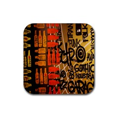 Graffiti Bottle Art Rubber Square Coaster (4 Pack)  by Simbadda