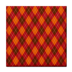 Argyle Pattern Background Wallpaper In Brown Orange And Red Tile Coasters by Simbadda