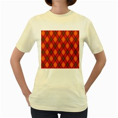 Argyle Pattern Background Wallpaper In Brown Orange And Red Women s Yellow T Shirt
