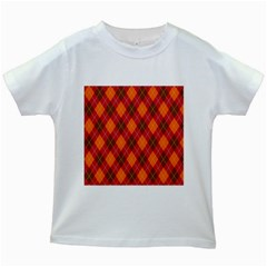 Argyle Pattern Background Wallpaper In Brown Orange And Red Kids White T Shirts by Simbadda