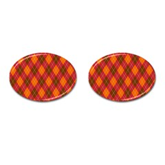 Argyle Pattern Background Wallpaper In Brown Orange And Red Cufflinks (oval) by Simbadda