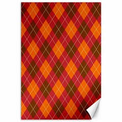 Argyle Pattern Background Wallpaper In Brown Orange And Red Canvas 12  X 18