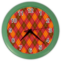 Argyle Pattern Background Wallpaper In Brown Orange And Red Color Wall Clocks by Simbadda