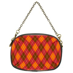 Argyle Pattern Background Wallpaper In Brown Orange And Red Chain Purses (one Side)  by Simbadda