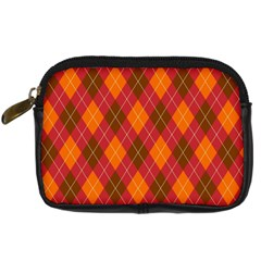 Argyle Pattern Background Wallpaper In Brown Orange And Red Digital Camera Cases by Simbadda