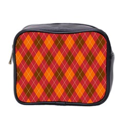 Argyle Pattern Background Wallpaper In Brown Orange And Red Mini Toiletries Bag 2 Side