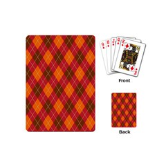 Argyle Pattern Background Wallpaper In Brown Orange And Red Playing Cards (mini)  by Simbadda