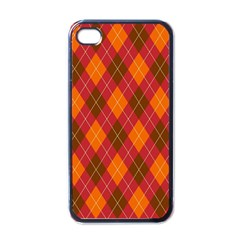 Argyle Pattern Background Wallpaper In Brown Orange And Red Apple Iphone 4 Case (black) by Simbadda