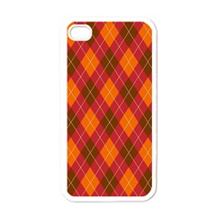 Argyle Pattern Background Wallpaper In Brown Orange And Red Apple Iphone 4 Case (white) by Simbadda