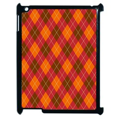 Argyle Pattern Background Wallpaper In Brown Orange And Red Apple Ipad 2 Case (black)
