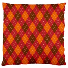 Argyle Pattern Background Wallpaper In Brown Orange And Red Large Cushion Case (two Sides) by Simbadda