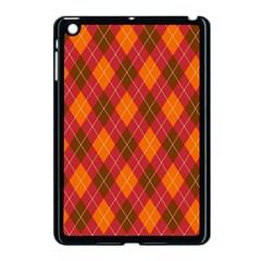 Argyle Pattern Background Wallpaper In Brown Orange And Red Apple Ipad Mini Case (black) by Simbadda
