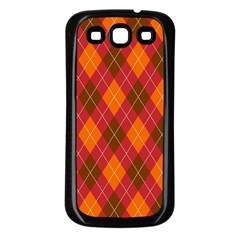 Argyle Pattern Background Wallpaper In Brown Orange And Red Samsung Galaxy S3 Back Case (black) by Simbadda