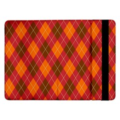 Argyle Pattern Background Wallpaper In Brown Orange And Red Samsung Galaxy Tab Pro 12 2  Flip Case by Simbadda
