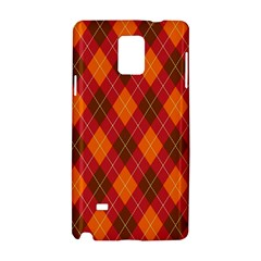 Argyle Pattern Background Wallpaper In Brown Orange And Red Samsung Galaxy Note 4 Hardshell Case by Simbadda