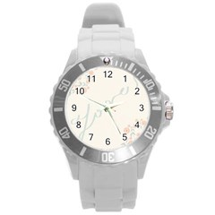Love Card Flowers Round Plastic Sport Watch (l)