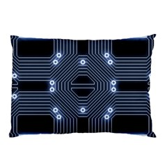 A Completely Seamless Tile Able Techy Circuit Background Pillow Case by Simbadda