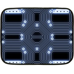 A Completely Seamless Tile Able Techy Circuit Background Fleece Blanket (mini) by Simbadda