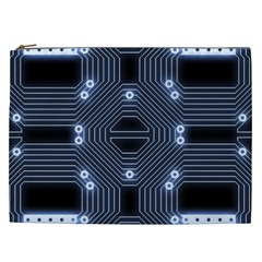 A Completely Seamless Tile Able Techy Circuit Background Cosmetic Bag (xxl)  by Simbadda
