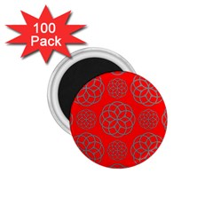 Geometric Circles Seamless Pattern On Red Background 1 75  Magnets (100 Pack)  by Simbadda