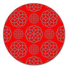 Geometric Circles Seamless Pattern On Red Background Magnet 5  (round) by Simbadda