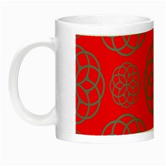 Geometric Circles Seamless Pattern On Red Background Night Luminous Mugs by Simbadda
