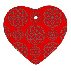 Geometric Circles Seamless Pattern On Red Background Heart Ornament (two Sides) by Simbadda