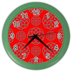 Geometric Circles Seamless Pattern On Red Background Color Wall Clocks by Simbadda