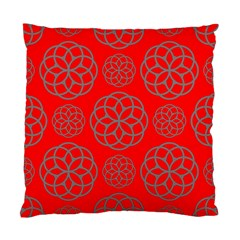 Geometric Circles Seamless Pattern On Red Background Standard Cushion Case (two Sides)