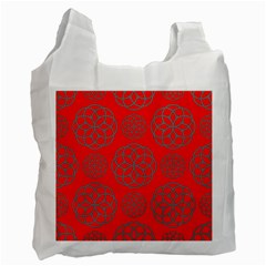 Geometric Circles Seamless Pattern On Red Background Recycle Bag (one Side)