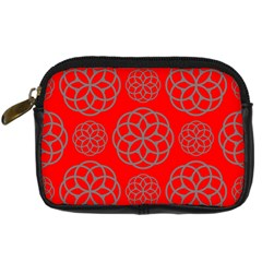 Geometric Circles Seamless Pattern On Red Background Digital Camera Cases by Simbadda