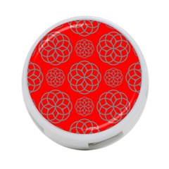 Geometric Circles Seamless Pattern On Red Background 4 Port Usb Hub (two Sides)  by Simbadda