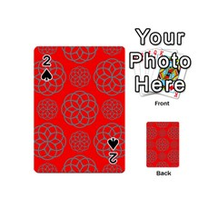 Geometric Circles Seamless Pattern On Red Background Playing Cards 54 (mini)  by Simbadda