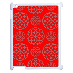 Geometric Circles Seamless Pattern On Red Background Apple Ipad 2 Case (white) by Simbadda