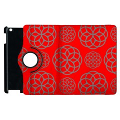 Geometric Circles Seamless Pattern On Red Background Apple Ipad 3/4 Flip 360 Case by Simbadda