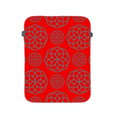 Geometric Circles Seamless Pattern On Red Background Apple Ipad 2/3/4 Protective Soft Cases by Simbadda
