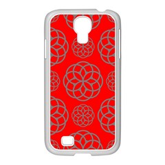 Geometric Circles Seamless Pattern On Red Background Samsung Galaxy S4 I9500/ I9505 Case (white) by Simbadda