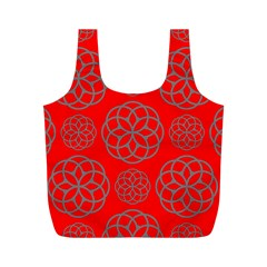 Geometric Circles Seamless Pattern On Red Background Full Print Recycle Bags (m)  by Simbadda