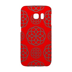 Geometric Circles Seamless Pattern On Red Background Galaxy S6 Edge