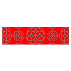 Geometric Circles Seamless Pattern On Red Background Satin Scarf (oblong) by Simbadda