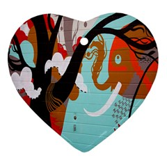 Colorful Graffiti In Amsterdam Heart Ornament (two Sides)