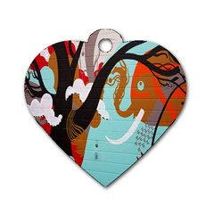 Colorful Graffiti In Amsterdam Dog Tag Heart (one Side) by Simbadda