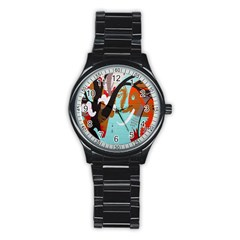 Colorful Graffiti In Amsterdam Stainless Steel Round Watch by Simbadda
