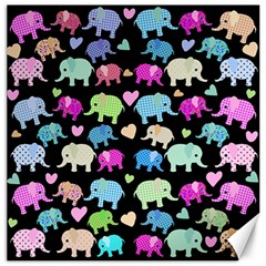 Cute Elephants  Canvas 16  X 16   by Valentinaart