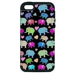 Cute Elephants  Apple Iphone 5 Hardshell Case (pc+silicone) by Valentinaart