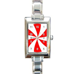 Candy Red White Peppermint Pinwheel Red White Rectangle Italian Charm Watch